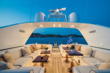 MY Angelina Mangusta 80 for charter in Greece. Saltwater Yachts
